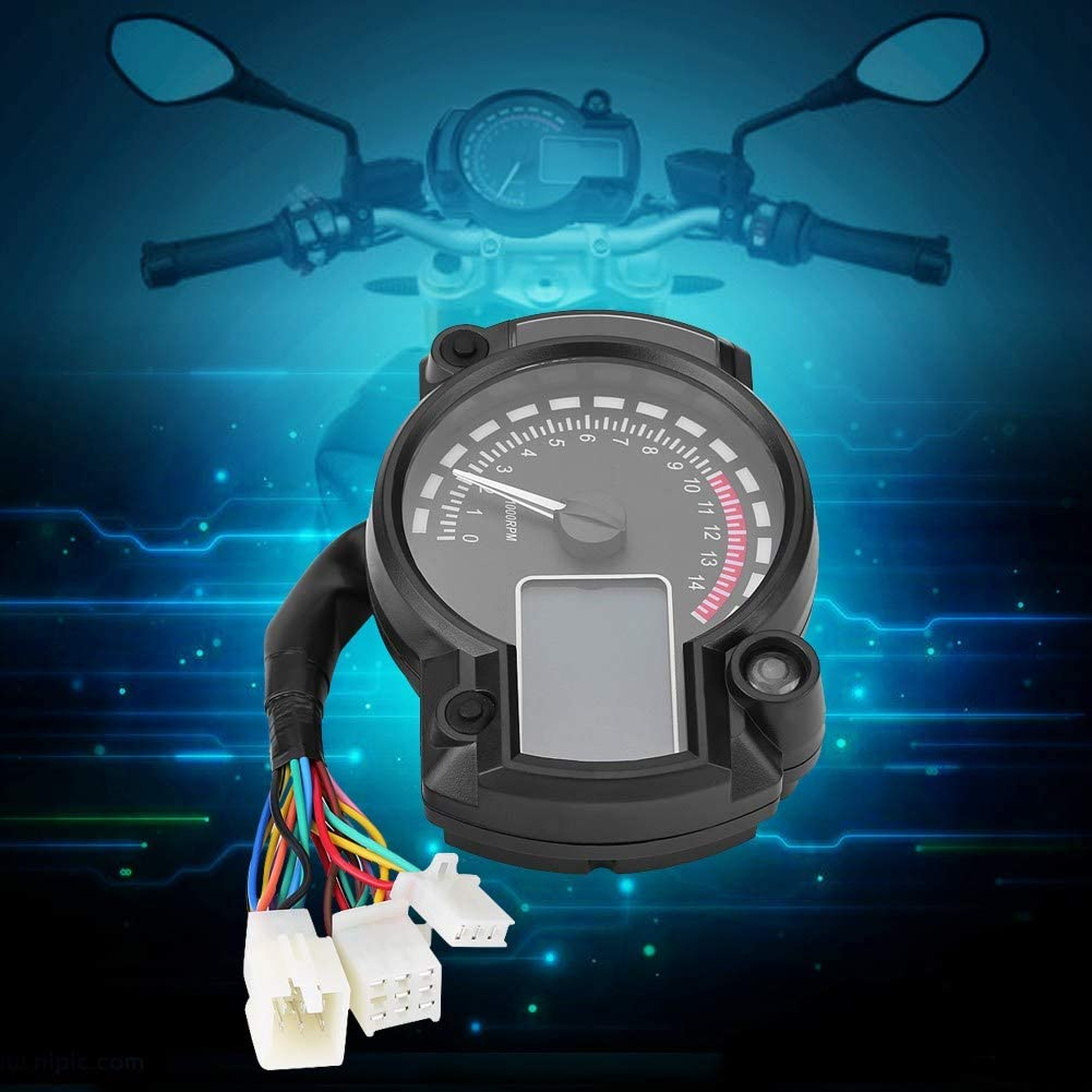 Motorcycle Speedometer Colorful LCD Speedometer Digital LCD Motorcycle Odometer Tachometer with Speeding Sensor for Universal Motorcycles