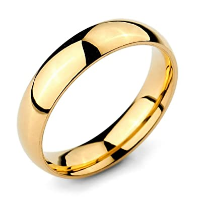 Bishilin 5mm Gold Plated Gold Classic Wedding Rings Sets His And