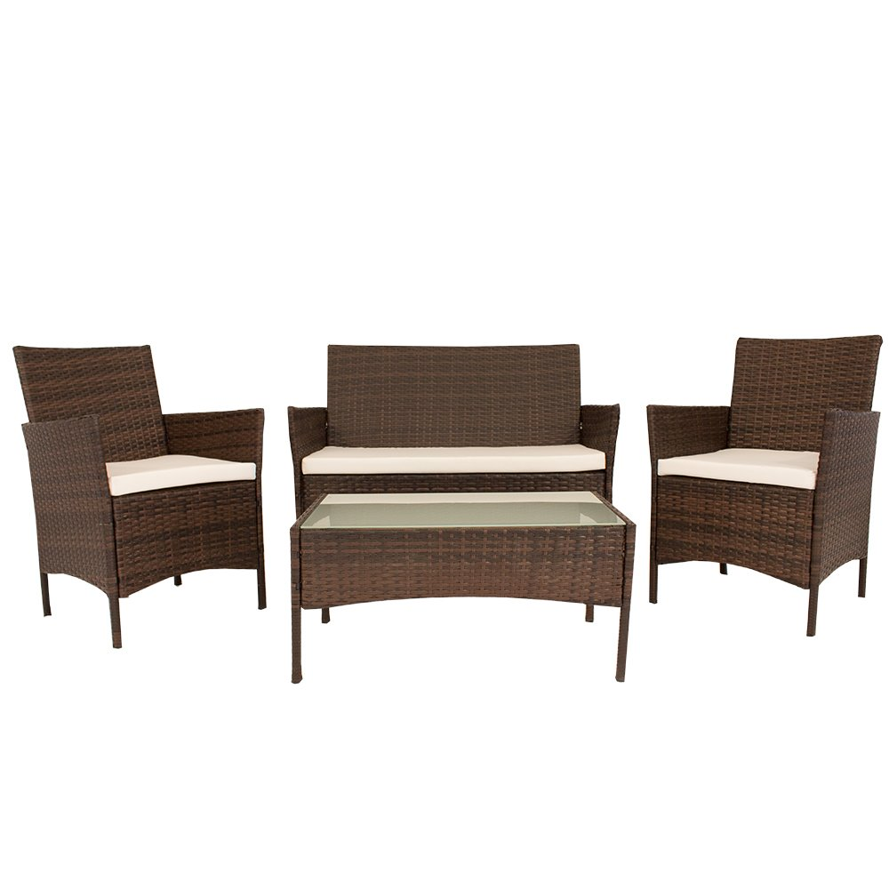 gartenm bel set ausziehbar cravog polyrattan garten tisch und stuhl set f r party und. Black Bedroom Furniture Sets. Home Design Ideas