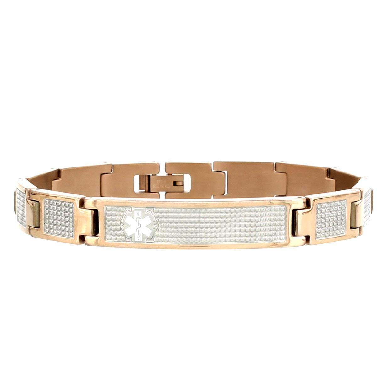 AMERICAN MEDICAL ID Lynx Shine Medical ID Bracelet Rose Gold Tone Over Stainless Steel, for 7 Wrist, 3 Lines Personalized Engraving Included