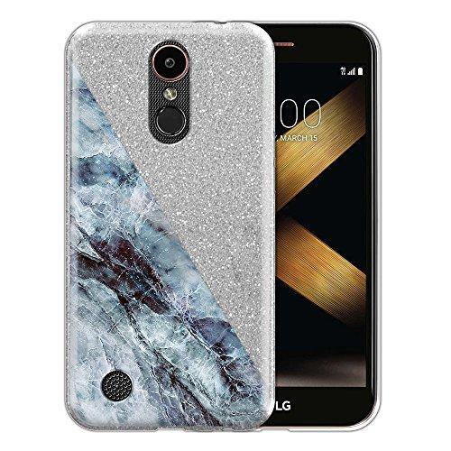 LG K20 Plus Hybrid Case, FINCIBO Sparkling Silver Glitter TPU Hybrid Silicone Protector Cover for LG K20 Plus TP260 MP260 Harmony K20 V VS501 LV5 L59BL K10 2017 M250 M257 - Marble Half