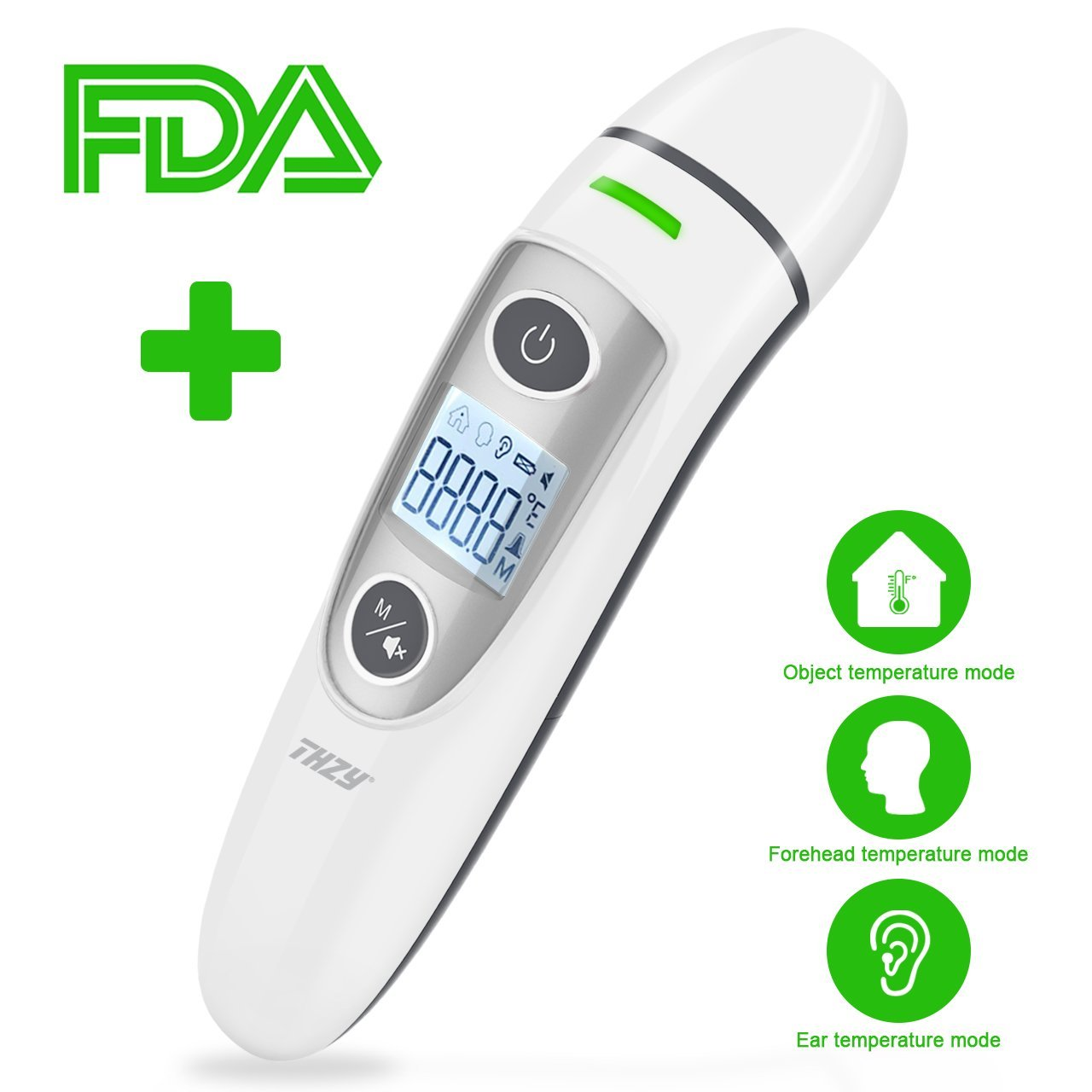 Forehead and Ear Thermometer, THZY Upgraded Digital Infrared Thermometer with Fever Indicator, Dual Mode Body Thermometer Suitable for Baby, Infants, Toddlers and Adult CE&FDA Approved by THZY (Image #1)