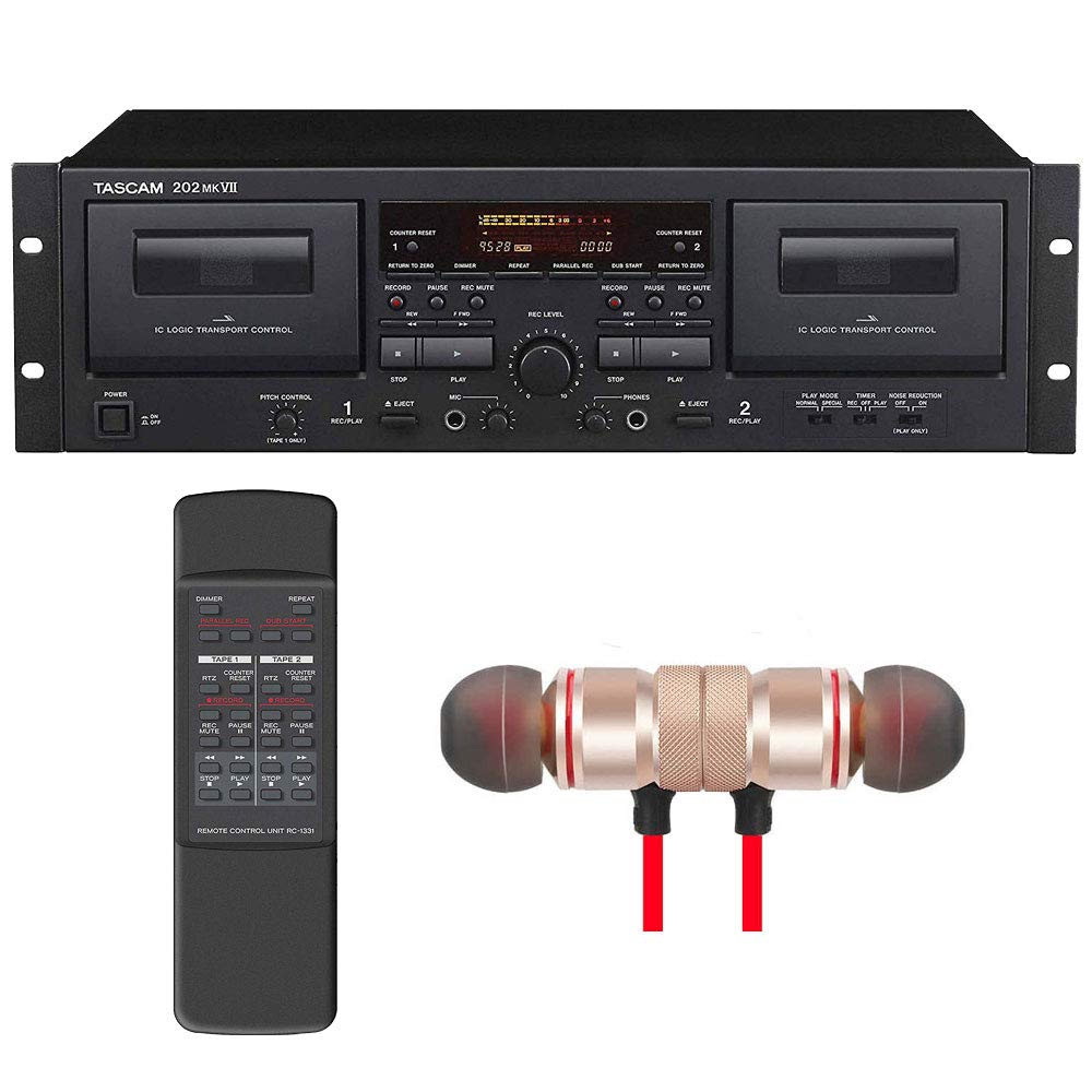 Tascam 202MKVII Double Cassette Deck with USB Port includes Free Wireless Earbuds - Stereo Bluetooth In-ear Earphones