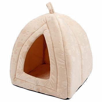 Cama caseta textura suave para mascotas blanca crudo de 40 x 32 x 32 cm acogedora confortable de OPEN BUY: Amazon.es: Hogar