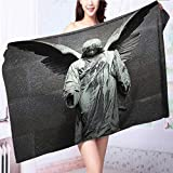 Microfiber Towels Sculpture of an Angel with Dark Background Catholic Belief Century Dimgrey Multipurpose, Quick Drying L55.1 x W27.5 INCH