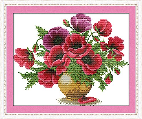 Benway Stamped Cross Stitch Poppy Flowers In Vase 14 Count