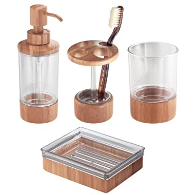 iDesign Bamboo Countertop Bath Accessory Set, Soap Dispenser Pump, Toothbrush Holder, Tumbler, Soap Dish - 4 Pieces, Clear/Bamboo