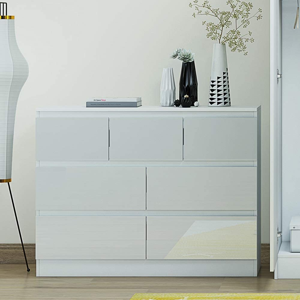 White Gloss Large 12 Drawer Merchant Chest Modern Style Matt White