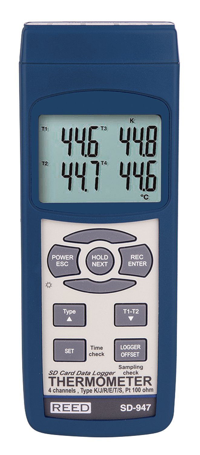 REED Instruments SD-947 SD Series Thermocouple Thermometer, Data logger, 4 Channel, Type K, J, R, S, E, T and RTD: Industrial Temperature Sensors: ...