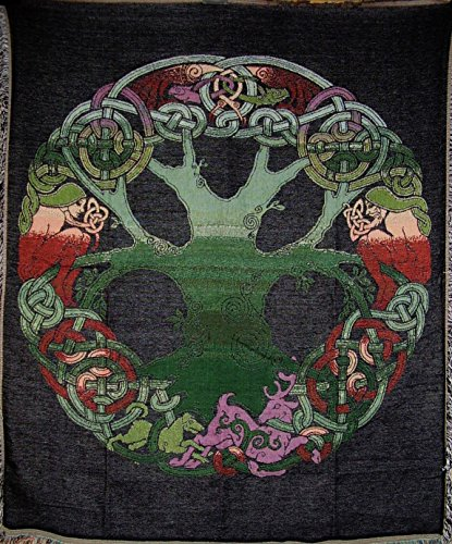 Celtic Tree of Life Lovers Woven Cotton Throw
