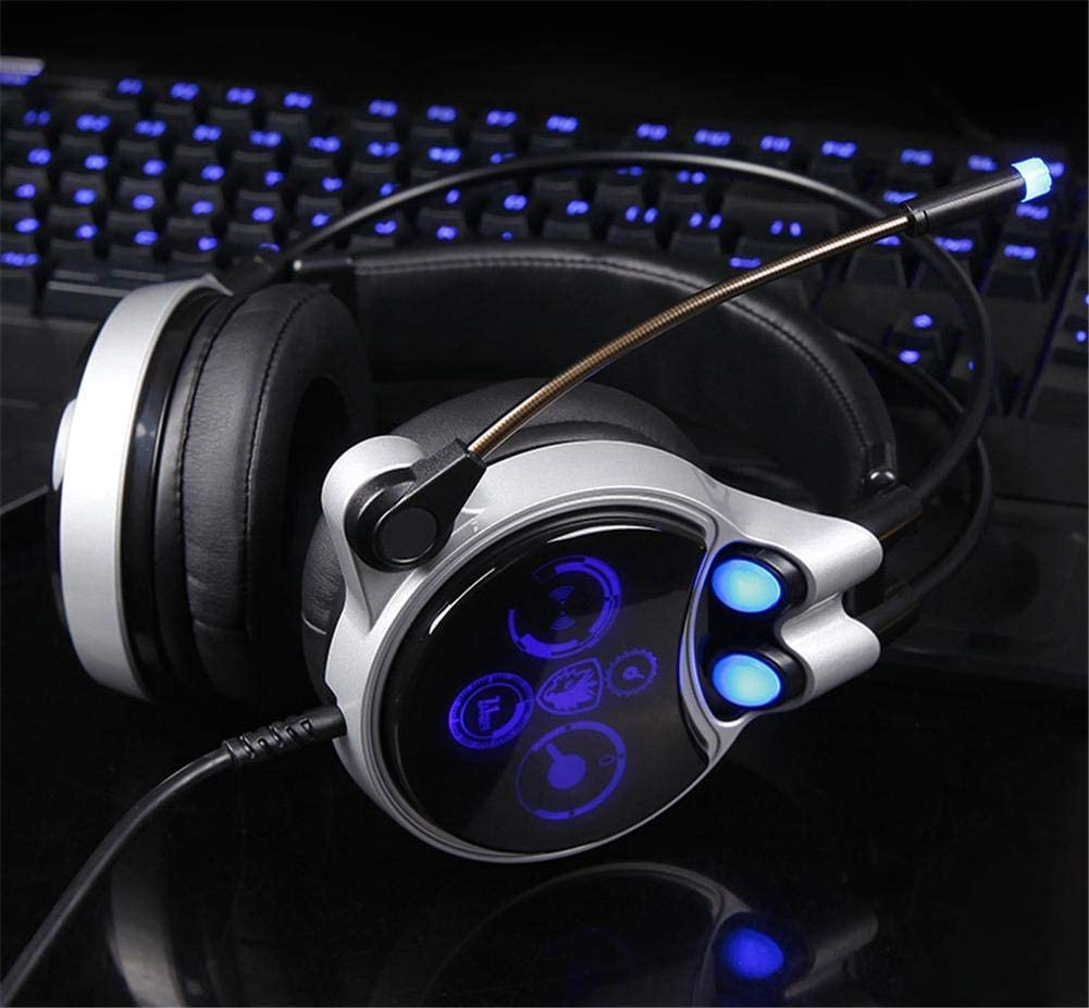 GSUMMER Gaming Headset Suitable for Entertainment Computer Gaming Wear USB Gaming Headset with Cable-Controlled 7.1-Channel Headset