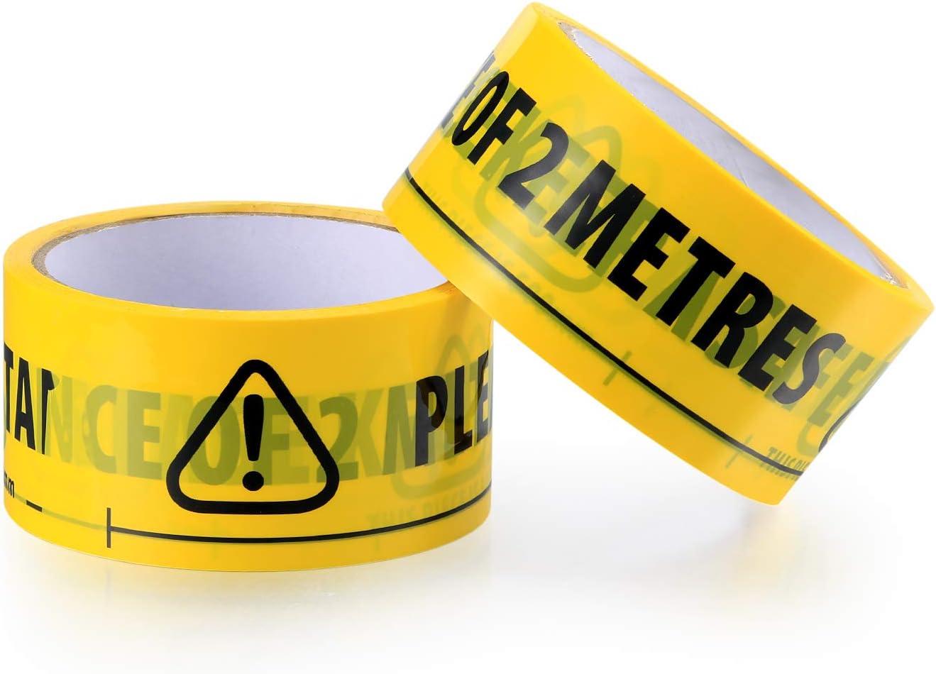 Yellow Adhesive Barricade Tape for Shops Warehouses Danger Areas 2Pcs Safety Tape Yellow Black 33m x 48mm Hazard Warning Tape Adhesive 2m Metre Apart Social Safe Distancing Floor Tape Waterproof