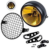 "Retro Vintage Motorcycle Universal Side Mount 35W 6.5"" Headlight w/ Grille + Bracket Kit"