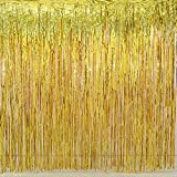 2 Pack Gold Foil Fringe Curtain Decoration - Metallic | Wedding | Hen Party Bachelorette | Decoration | Photo Booth Backdrop | Wall Cover Idea (gold)