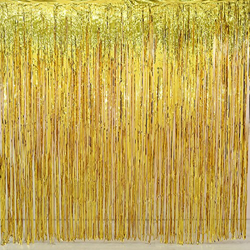 2 Pack Gold Foil Fringe Curtain Decoration -