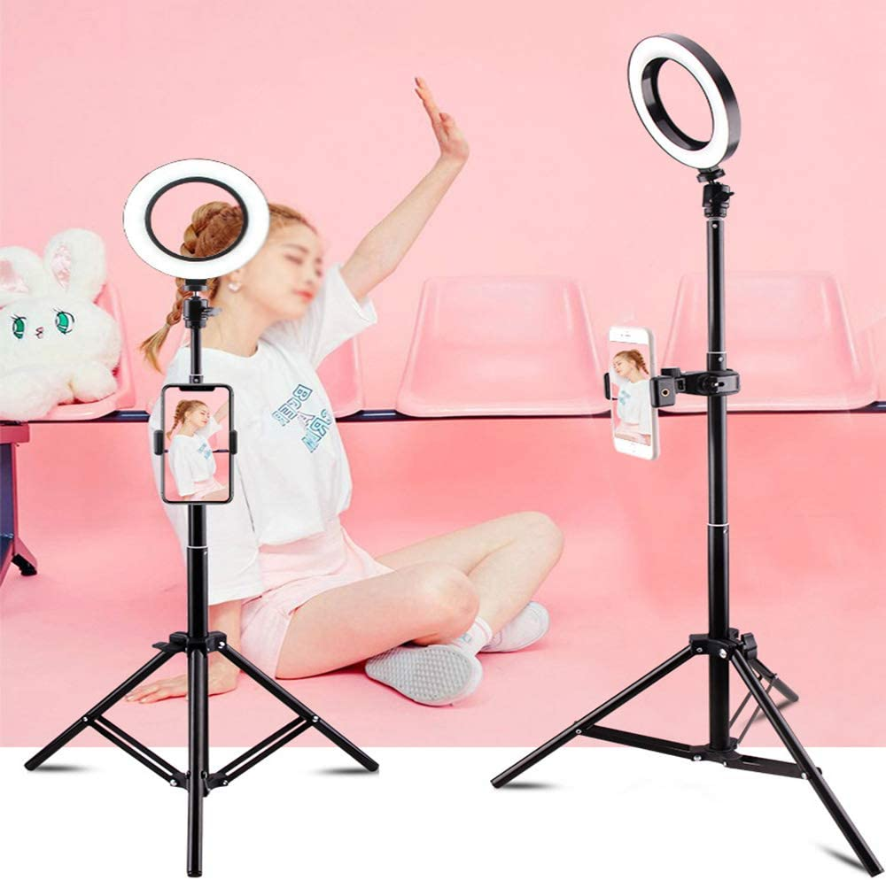 Phone Video Shooting Live Stream DelongKe Dimmable 7.9In LED Ring Light Light Stand with Standing for Vlog YouTube USB Plug