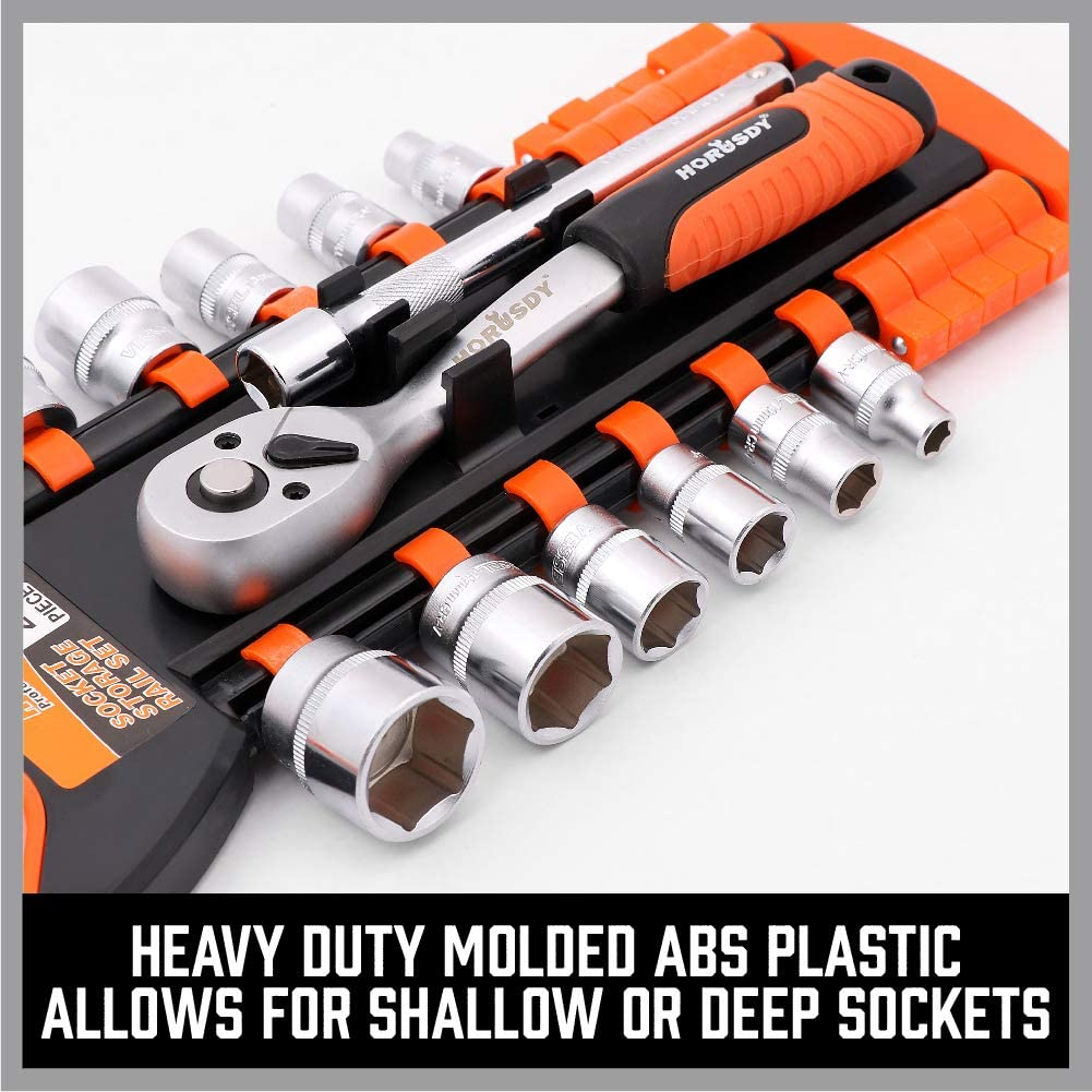 Premium Quality Socket Holders 1//4-Inch Best Unique Tool Gift for Men HORUSDY 3PC Socket Organizer 3//8-Inch 1//2-Inch