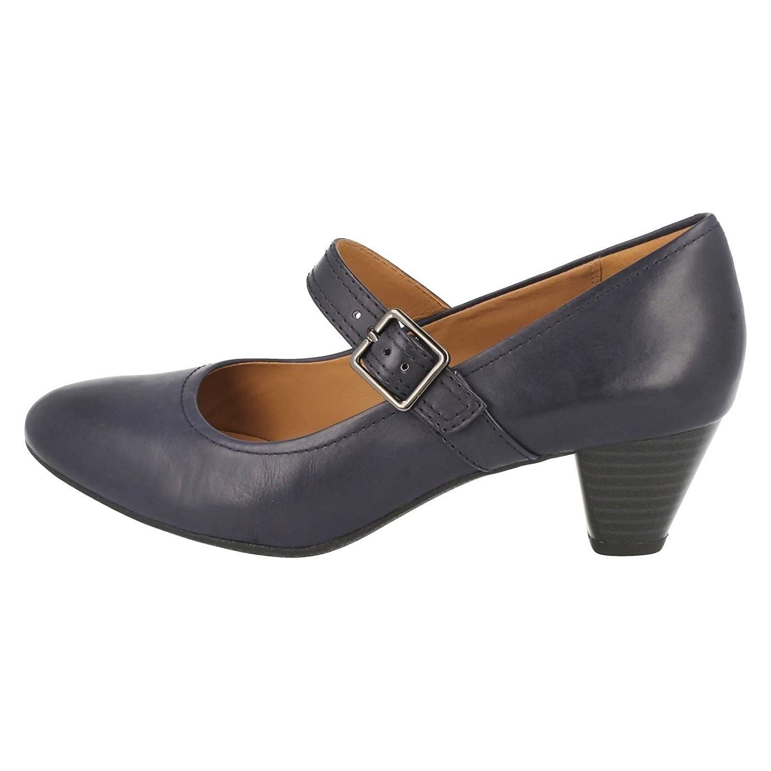 cb900ee260fb Clarks Womens Smart Clarks Denny Date Leather Shoes In Navy Wide Fit Size  5  Amazon.co.uk  Shoes   Bags