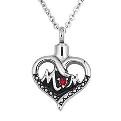 Uniqueen Cremation Jewellery Keepsake Heart Ashes Pendant Urn Necklaces with White Crystal for Memorial F4Lm9CTQvd