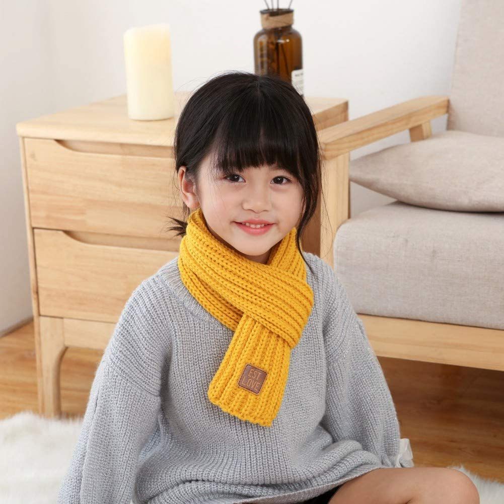 Gyratedream Childrens Unisex Fashion Casual All-match Solid Color Knitted Warm Winter Small Labeling Decoration Scarf