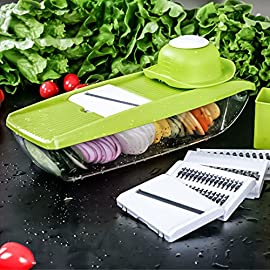 TAPCET Multi-function Food Slicer, Mandoline Vegetable Slicer, Fruit and Cheese Cutter, 5 Interchangeable Blades+Food Container+Peeler+Cleaning Brush+Blade Storage Box, Best for Carrot/Cucumber/Cheese 1 【It Will Make You Easy and Happy】★ Straight slicer 2.5m &1.5mm - Perfect for slicing fresh cucumber or thinly julienne potato chips! ★ Julienne 2.0mm & 3.0mm - Ideal for grating garlic, ginger, nutmeg or even chocolate! ★ Grate blade - Perfect for your cheeses or carrots. You can make a simple but delicous meal by TAPCET mandiline slicer, efficient, simple, safe and sanitary! 【High Quality】Built from first-grade, BPA-free ABS food-safe plastic, and 5 ultra sharp Japanese premium stainless steel blades, guaranteed not to rust or lose sharpness over time. The Mandoline Slicer is healthy, sharp and rust-resisting. 【5 Interchangeable Stainless Steel Blades】We put 5 different Interchangeable Stainless Steel Blades thickness slicer settings easily adjustable, it can create 5 types of vegetable slices/julienne (Slicer 2.5m&1.5mm, Julienne2.0mm&3.0mm, one Grate Blade), make it suitable for cutting all kinds of vegetable and fruits.
