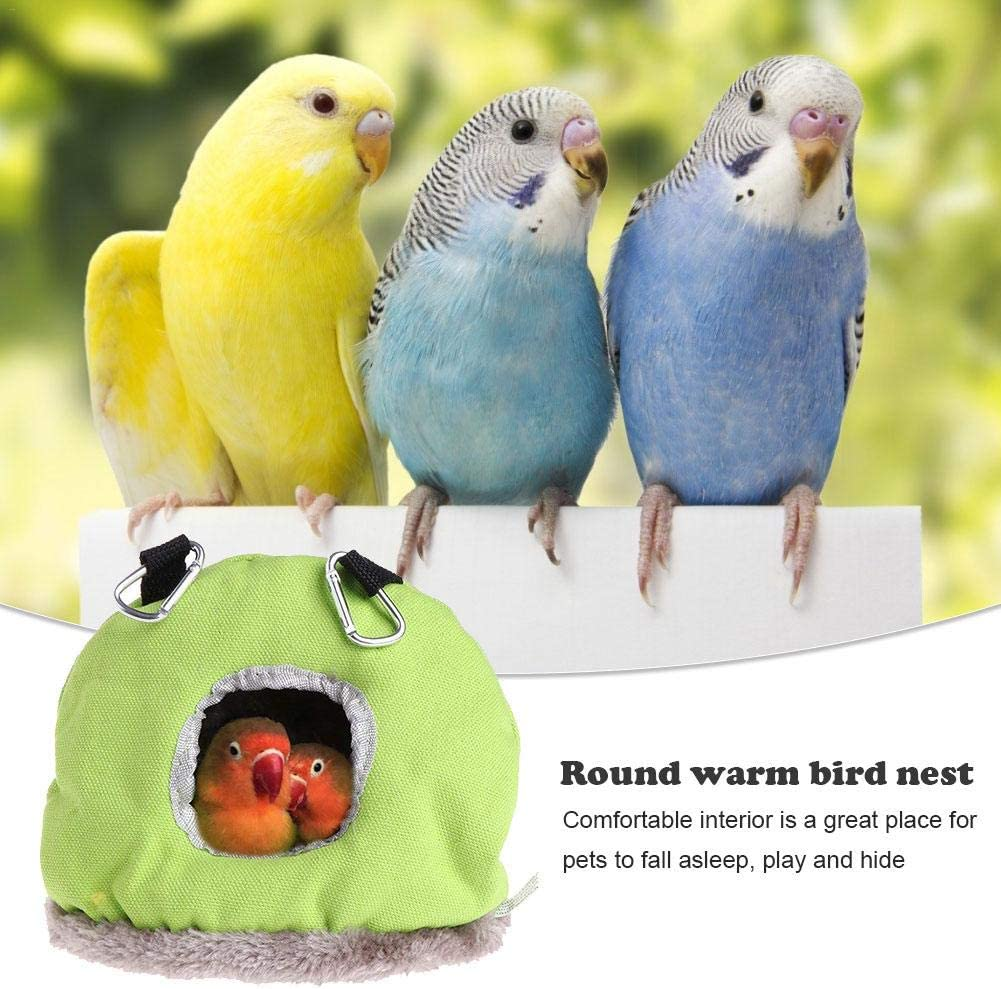 Green//Blue. Kapokilly Warm Bird Nest,Round House Perch Cage Hanging Tent For Parrot Parakeet Cockatiel Conure Budgie