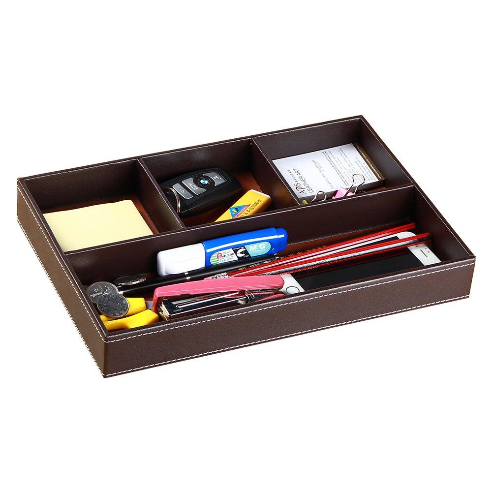 PUSU 4 Compartments Leather Valet Tray Drawer Tray Desk Organizer Stationery Sundries Organizer Storage Box Pen Pencils Key Holder Case(Brown)