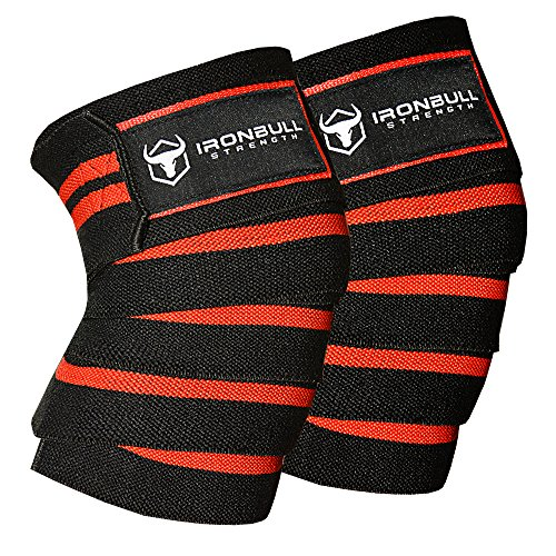 Iron Bull Strength Knee Wraps (1 Pair) - 80 Elastic Knee Elbow Support & Compression Weightlifting, Powerlifting, Fitness, WODs & Gym Workout - Knee Straps Squats