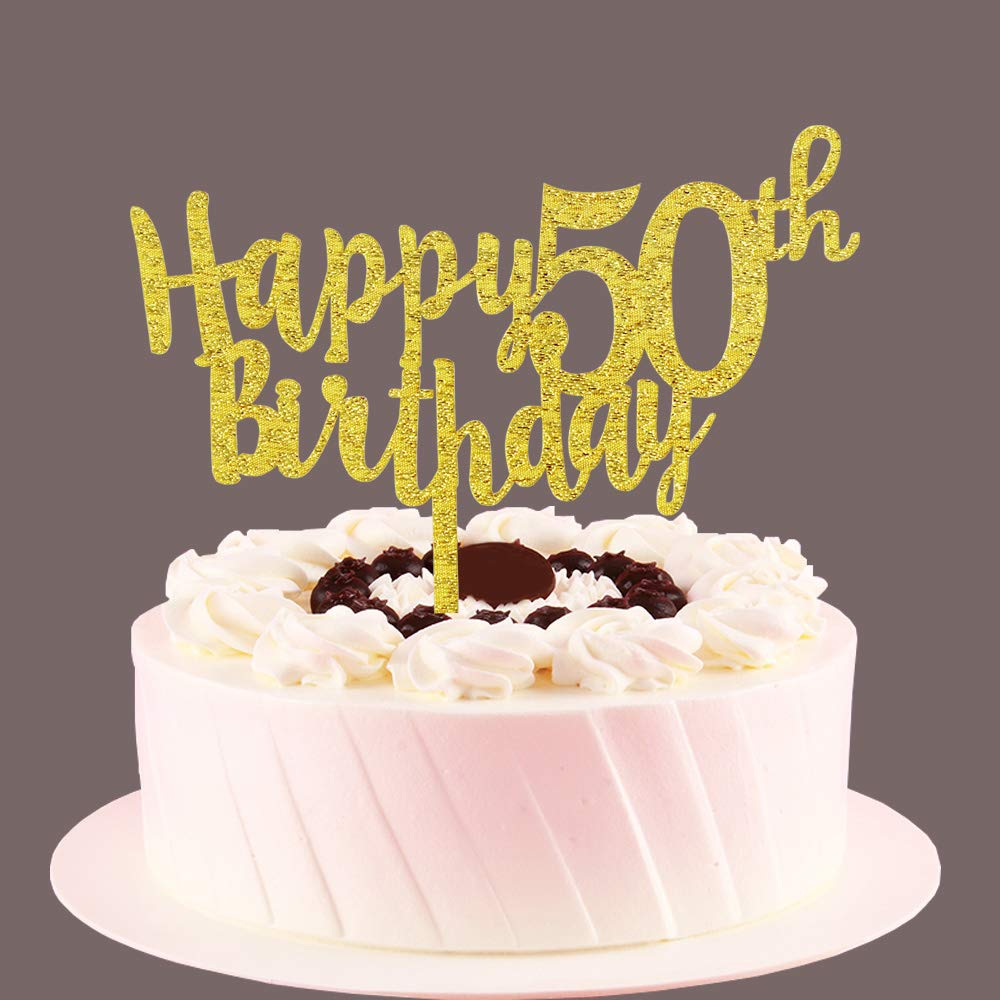 Happy 50th Birthday Cake Topper Gold 50 Years Old Birthday Party Sign Decors 50th Birthday Party Supplies Amazon In Toys Games