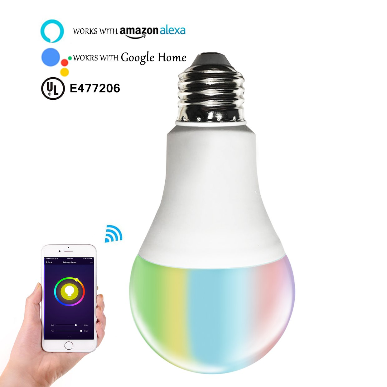 Smart RGBW Tunable Warm White & Color LED Bulbs(6.5W), Cxy WiFi APP-Smartphone controlled LED Light Bulbs, Multicolor, Dimmable, Compatible with Alexa or Google Home , 60-Watt Equivalent.