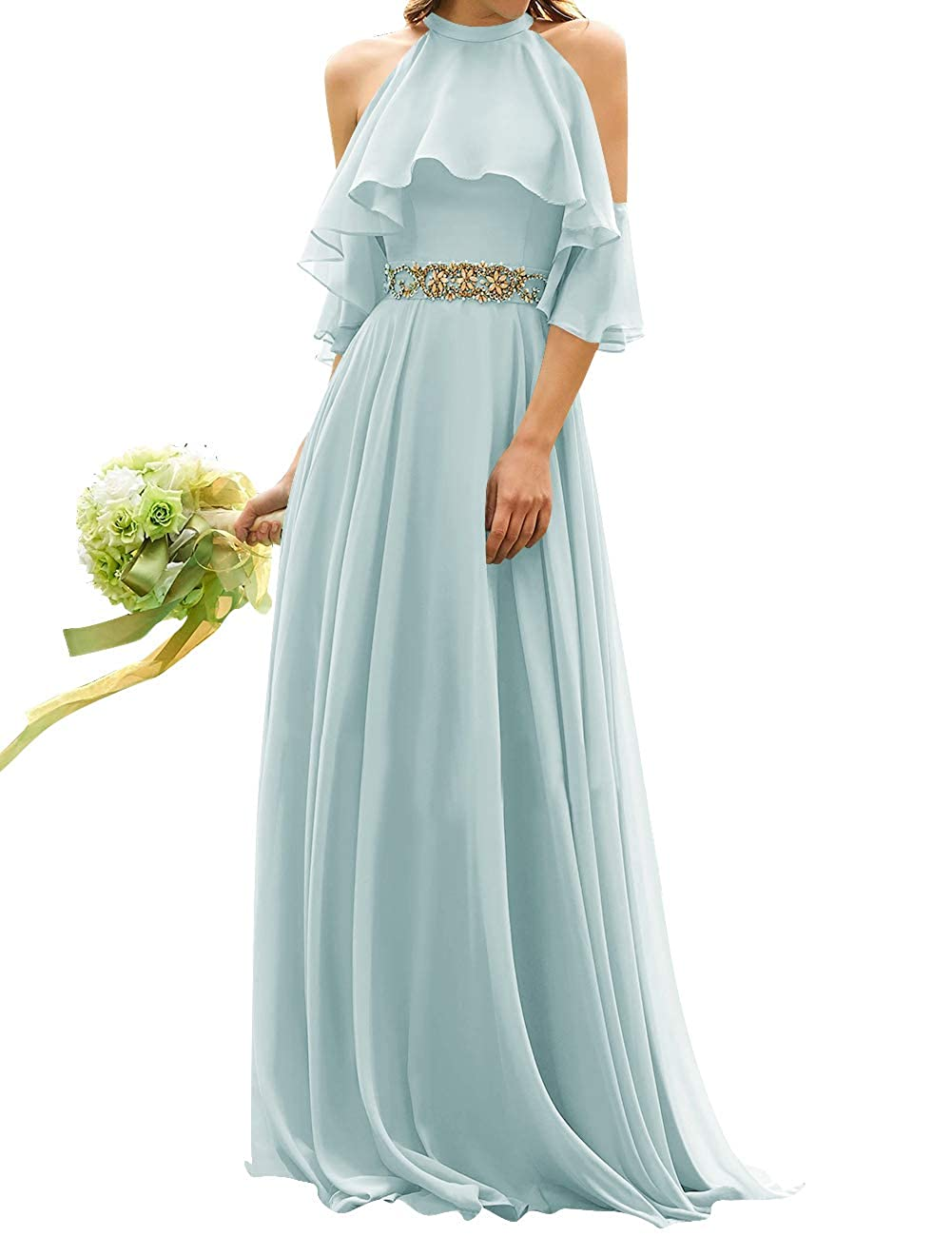 Sky bluee Uther Long Bridesmaid Dress Cold Shoulder Beaded Ruffle Sleeves Wedding Party Dresses