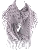 Infinity Circle Loop Figure Eight Endless Scarf Wrap by Silver Fever (Gray-Wide)
