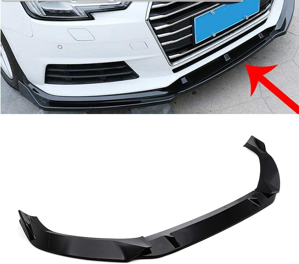 MotorFansClub 3pcs Front Bumper Lip fit for compatible with Audi A4 Sedan 2017 2018 Splitter Trim Protection Spoiler Black