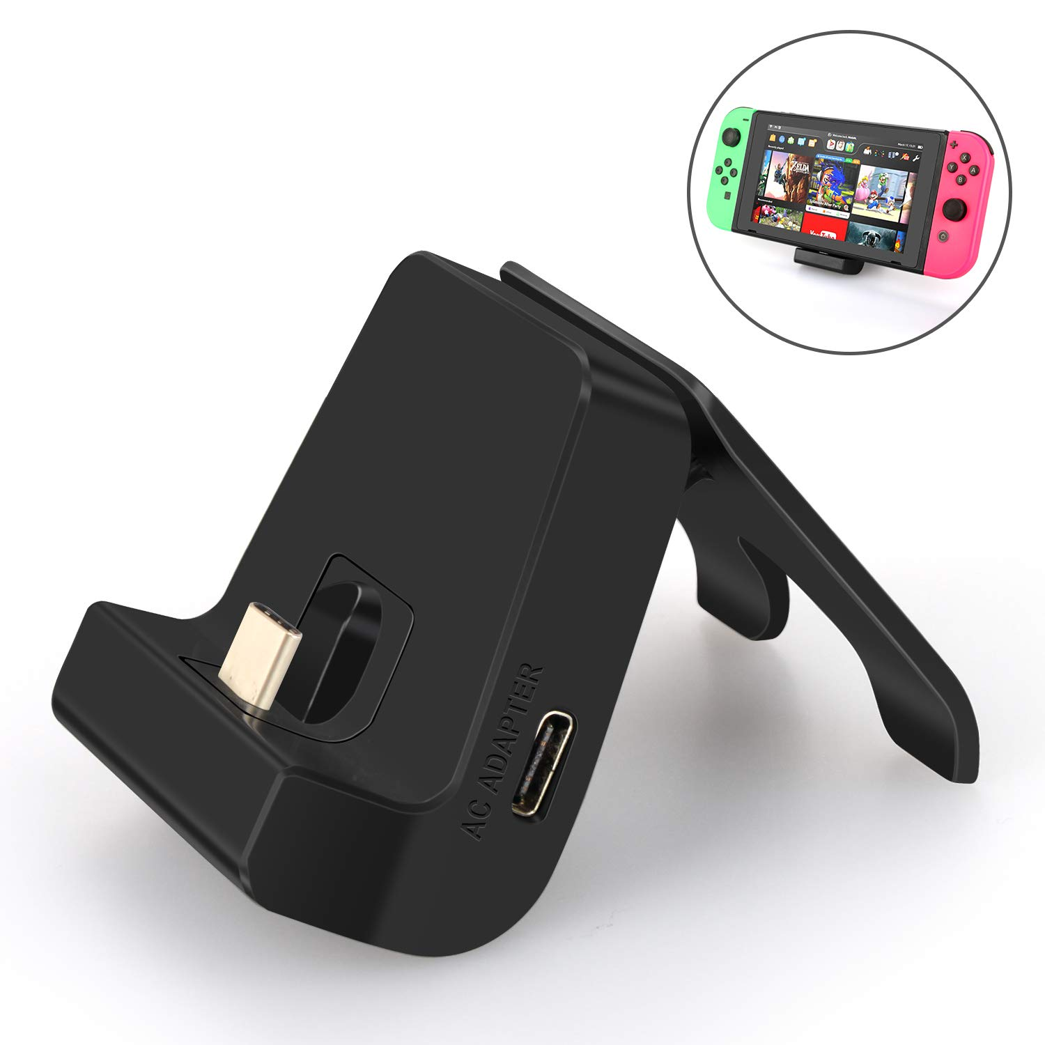 Adjustable Charging stand for Nintendo Switch,Multi-angle Compact Tabletop Mode Playstand for Nintendo Switch Dock Station with USB-C Fast Charging Port