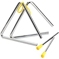 2 Piezas Triángulo Instrumento Musical, 5 Pulgadas Triangulo Percusion Instrumentos Musicales para Percusión y Educación…
