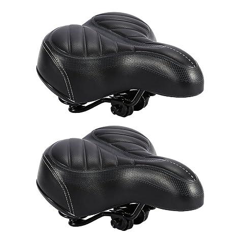 Sillín bicicleta asiento de bicicleta confortable impermeable piel sintética negro acolchado de espuma asiento montaña bicicleta