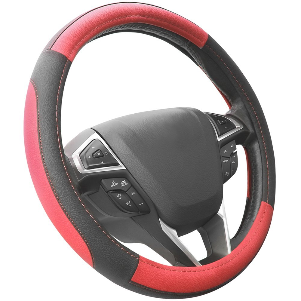 SEG Direct Black and Gray Microfiber Leather Auto Car Steering Wheel Cover Universal 15 inch AU38WILSWC0021