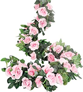LESING Rose Garlands Artificial Rose Vines,4PCS(28.8FT) Fake Silk Flower Garlands with Greenery Plants Wedding Hanging Flower Vines Garlands for Home Office Arch Garden Decoration (Pink)