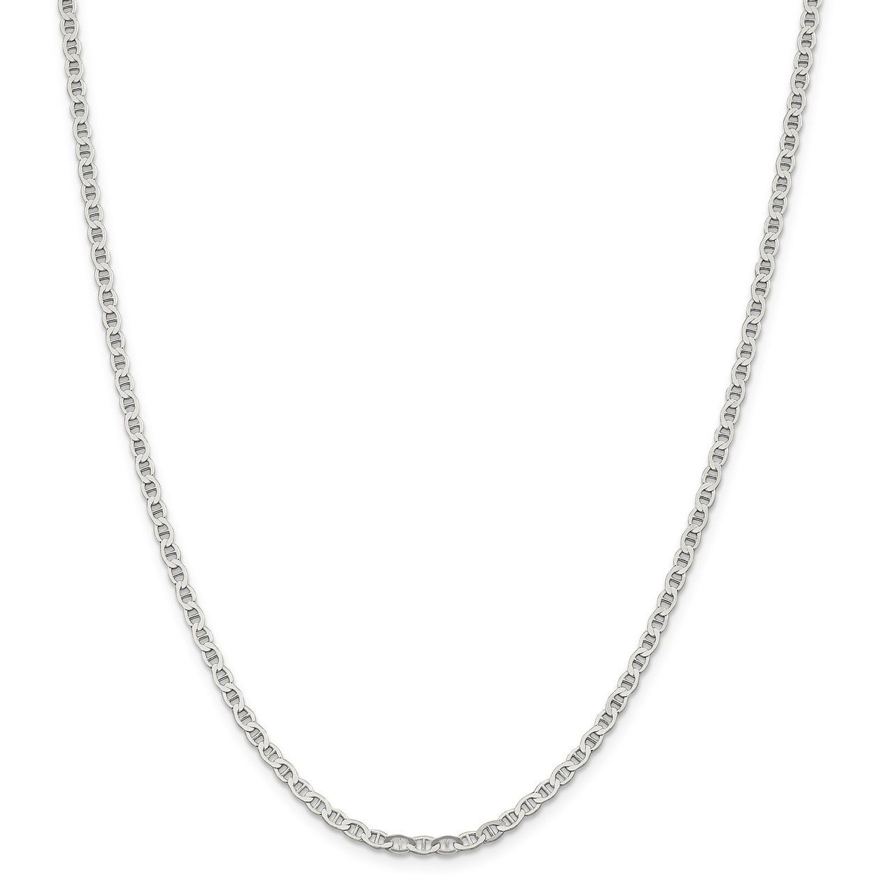 Lex & Lu Sterling Silver 3.1mm Flat Anchor Chain Anklet, Bracelet or Necklace-Prime