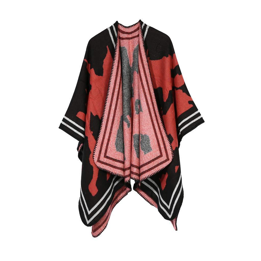 IEasⓄn Women Shawl Winter Soft Cashmere Scarves Stylish Warm Blanket Shawl Elegant Wrap Red