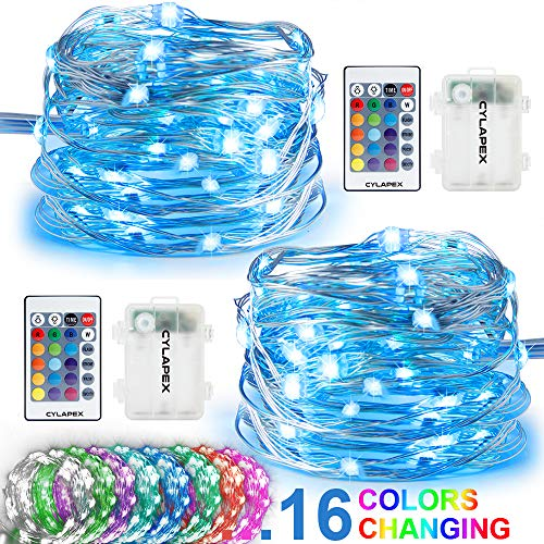 CYLAPEX 2 Set Fairy Lights Multi Color Changing with Remote, LED String Lights Battery Operated, 50 LEDs on 16.4FT Silvery Copper Wire Decorative String Lights for Bedroom Christmas Patio Waterproof