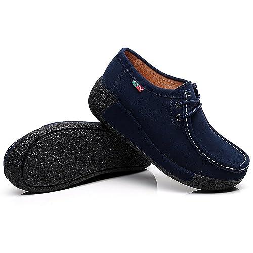 Shenn Mujer Zapatos Formal Plataforma Oculto Tacón Cuña Gamuza Zapatillas de Moda (Azul,EU37)