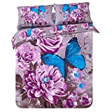 SHNICHISTAR Elegant Purple Flower With Butterfly Printed 7 Piece Bed In a Bag, Floral And Butterfly Bedding Set,Included Quilt,Queen Size Bed In a Bag