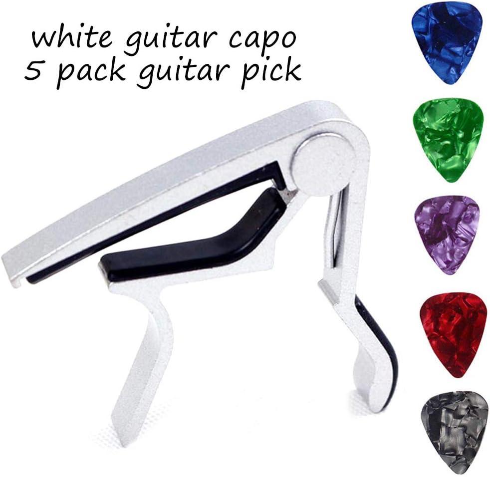 Cejilla Guitarra Capo para Uktunu Electrónica Guitarra Clásica Acústica Banjo Mandolina Violín Capo Pinza de una Mano Accesorio de Guitarra con Púa de Guitarra Paquete de 5