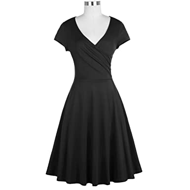 Trendy-Nicer Women Red Robe 50s Vintage Dresses Rockabilly Party Daily Vestido,1Black Elegant