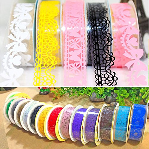 GVDOR 10Pcs Scrapbooking Lace Decorative Self Adhesive Masking Washi Tapes Sticky Paper Sticker - For Designer Arts Crafts Ideas,Scrapbooking,DIY,Office Party Supplies,Gift Wrap,Premium Collection