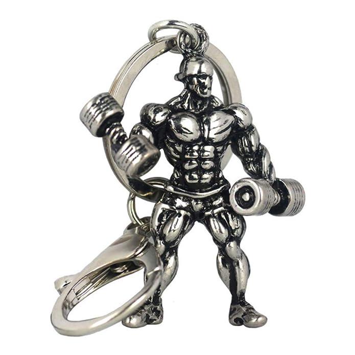 NiceButy metal llavero Accesorios hombre fuerte mancuerna llavero de fitness culturismo llave del coche llavero Ropa