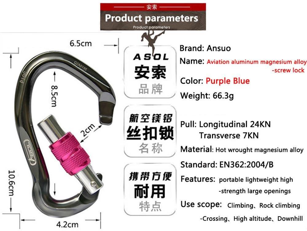 Amazon.com : ASOL Climbing buckle Professionals In Lega Di Magnesio Alluminio Di Aeronautica Lock & Alpinismo Fibbia & Moschettone Arrampicata Gear ...