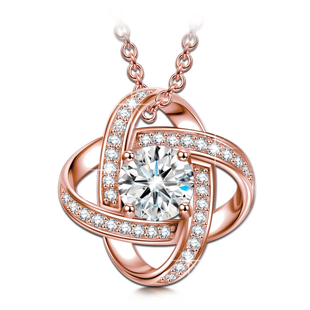 My Miss Necklace 61% Off Rose Gold Plated 925 Sterling Silver AAAA CZ Pendant Fine Jewelry- Xmas Gift Idea! Rose Gold Necklace Silver B074SDPNZN_US