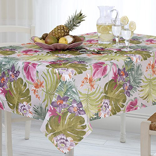Casual Living by Newbridge Kona Tropics Indoor Outdoor Polyester Table Linens, 60-Inch by 84-Inch Oblong (Rectangle) Tablecloth by Casual Living by Newbridge